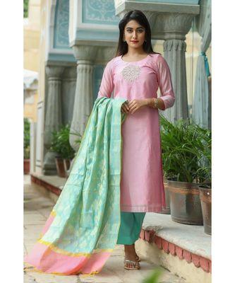 pink printed chanderi stitched kurti sets