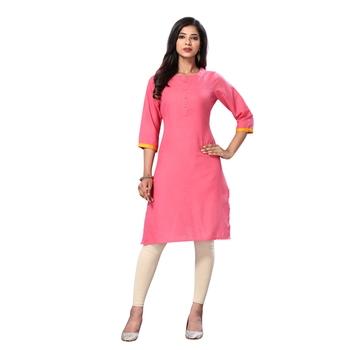 Pink plain cotton kurta