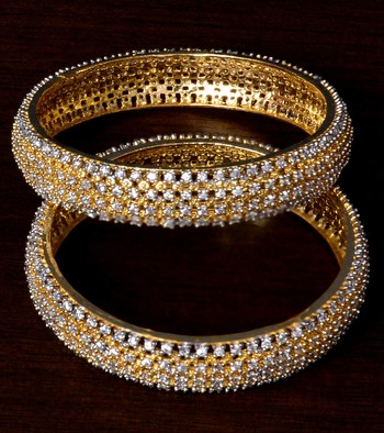 White Gold Plated American Diamond Embellished Designer Bangles BD310
