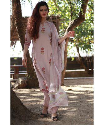 GREY printed Cotton stitched kurta sets