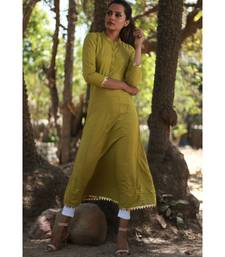 olive green printed rayon stitched party wear kurtis