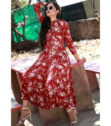 MAROON printed Rayon stitched party wear kurtis