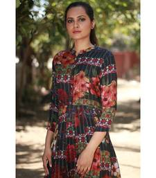 BLACK printed Rayon stitched party wear kurtis