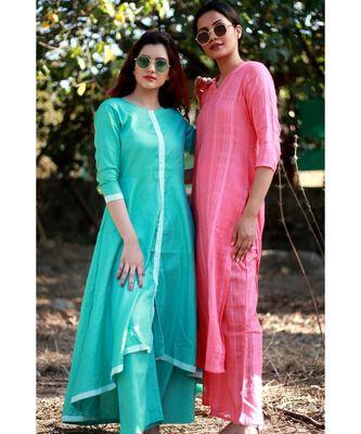 GREEN printed Rayon stitched kurta sets