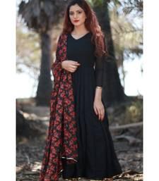 BLACK printed Georgette stitched georgette kurtis