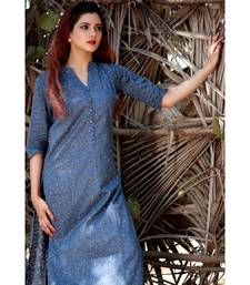 Blue printed Rayon stitched party wear kurtis