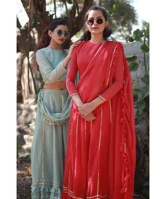 RED plain georgette readymade saree