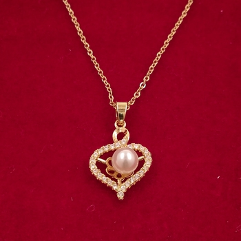 Embracing Hearts-In-Love Gold Plated Austrian Crystal Pendant For Girls