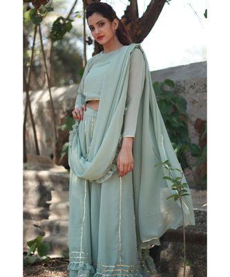 PISTA GREEN plain georgette readymade saree