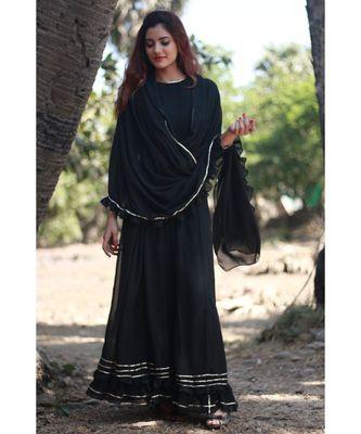 BLACK plain georgette readymade saree
