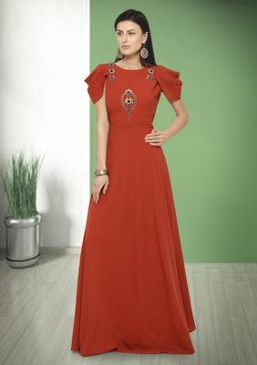 Red Hand Embroidery Silk Blend Salwar