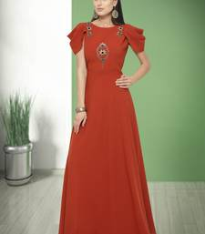 Red hand embroidery silk blend salwar