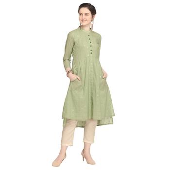 Light-green printed cotton party-wear-kurtis