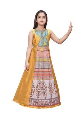 gold printed polyester stitched girls gown