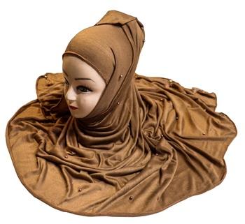 Justkartit Wood Color Beads And Tassel Work Hosiery Cotton Hijab Scarf