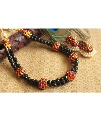 Beautiful Kemp Black Agates Designer Necklace Set