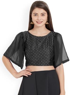 Black Art Silk With Georgette Ruffle Sleeve blouse