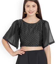 Black Art Silk With Georgette Ruffle Sleeve blouse