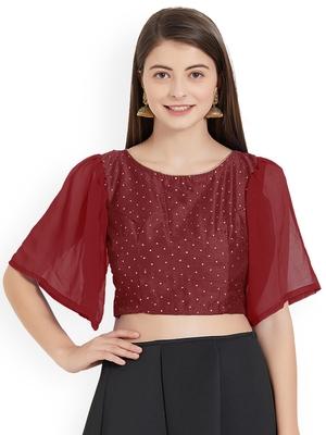 Maroon Art Silk With Georgette Ruffle Sleeve blouse