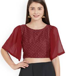 Maroon Art Silk With Georgette Ruffle Sleeve blouse