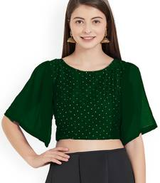 Green Art Silk With Georgette Ruffle Sleeve blouse