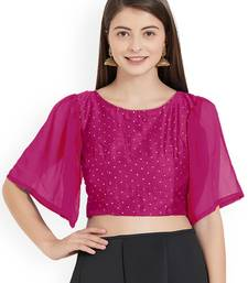 Ranipink Art Silk With Georgette Ruffle Sleeve blouse