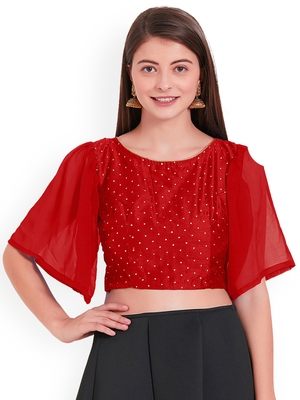 Red Art Silk With Georgette Ruffle Sleeve blouse