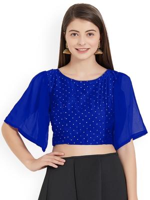 Blue Art Silk With Georgette Ruffle Sleeve blouse