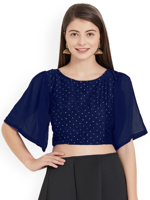Navyblue Art Silk With Georgette Ruffle Sleeve blouse
