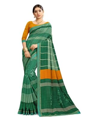 Women Green Cotton Silk Handloom Saree With Blouse