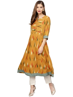 Mustard printed cotton long-kurtis