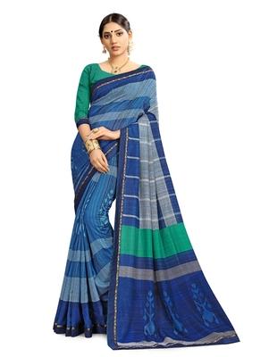 Women Blue Cotton Silk Handloom Saree With Blouse