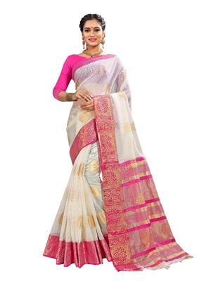 White woven banarasi and jacquard saree with blouse