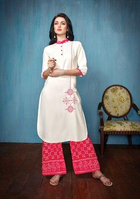 Women's White & Dark Pink Rayon & Cotton Preety Designer Kurtis