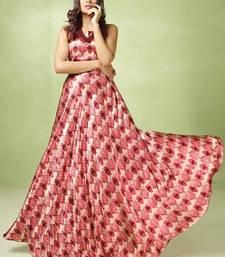 Women's Pink & Cream Satin & Orgenza Preety Designer Kurtis