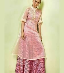 Women's Pink & Cream Satin & Orgenza Wonderful Designer Kurtis