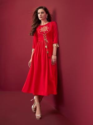 Women's Red Rayon Slub Classy Designer Kurtis
