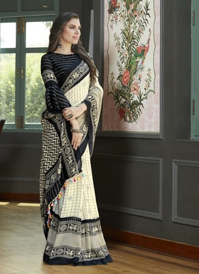 black printed lilen cottan saree with blouse