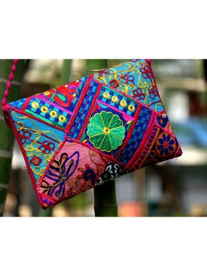 Colorful Embroidered Foil Mirror Worked Rajasthani Banjara Sling Bag With Non Adjustable Dori Pattern 2