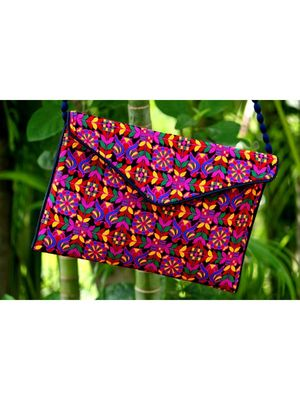 Multicolored Rajasthani Sling Bag With Printed Embroidered Work Pattern 1