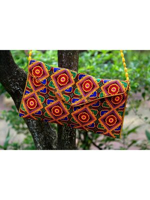 Multicolored Rajasthani Sling Bag With Printed Embroidered Work Pattern 2