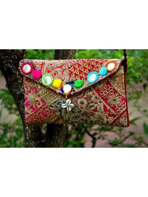 Multicolored Rajasthani Sling Bag With Real Mirror With Embroidered Work Pattern 4