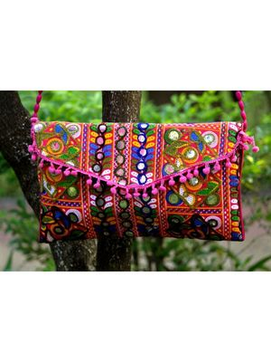 Aari Worked Foil Patched Colorful Banjara Sling Bag With Non Adjustable Dori Pattern 1