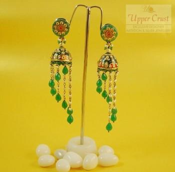 Handpainted Emerald Kundan Jhumka Earrings