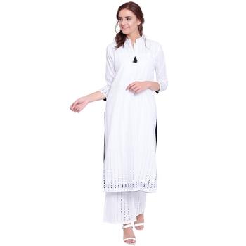 White embroidered cotton kurtasandkurtis