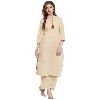 Beige embroidered cotton kurtasandkurtis