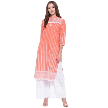 Orange embroidered cotton kurtasandkurtis