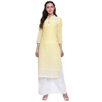 Yellow embroidered cotton kurtasandkurtis