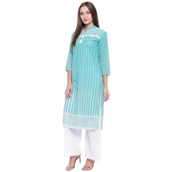 Turquoise embroidered cotton kurtasandkurtis