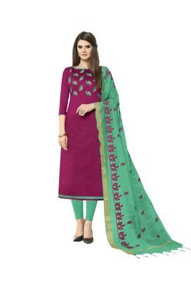 Magenta Embroidered Cotton Salwar